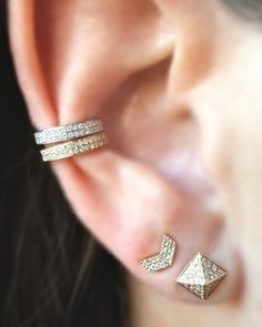 Diamond Pyramid and Chevron posts with Diamond Ear Cuffs in Yellow and White Gold from the EarStylist by Jo Nayor