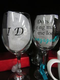 Great gifts for those who just got engaged or as a bridal gift! Available in multiple colors, styles, fonts and glasses! #ido #doesthisringmakemelookengaged #engaged #wedding #giftideas