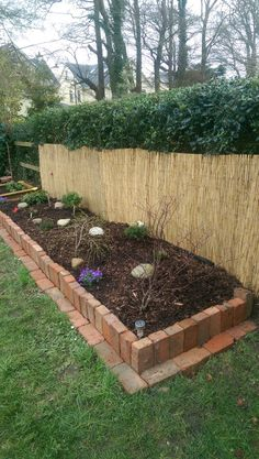 Old red brick raised bed