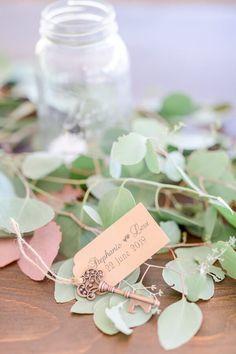 Eucalyptus rustic wedding centerpiece and vintage key wedding decor