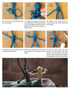 Make miniature paracord people to use as keychains and zipper pulls. A fun project for any age. Paracord Zipper Pull, Paracord Keychain, Paracord Bracelets, Survival Bracelets, Paracord Tutorial, Bracelet Tutorial, Paracord Braids, Girl Scout Crafts, Paracord Projects