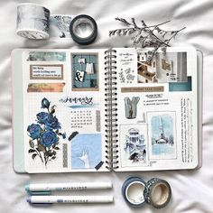 Wonderful January monthly spread of - . - Wonderful January monthly spread from – … – journal – - Album Journal, Planner Bullet Journal, Bullet Journal Spread, Bullet Journal Inspo, Scrapbook Journal, Journal Layout, Journal Notebook, Travel Scrapbook, January Bullet Journal