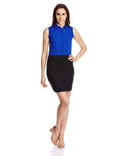 Miss Chase Women's Blue Crepe Dress  Color: Blue Colored Febric : 100% Crepe Sleeveless, round neck, mini length Woven fabric, body fit, ideal for any body type Warm machine wash, dry away from direct heat, warm iron, Evening dresses for women