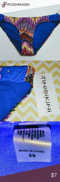 Tinibikini Bikini Bottom NWT, Size XS, Cobalt Blue, Yellow, & Pink Multi-Colored, Still Has Protective Liner in Tact. Tinibikini Swim Bikinis
