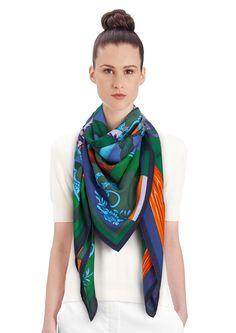 "2015 FW   Cavalleria d'Etriers   Cashmere and silk shawl, 55"" x 55"" (70% cashmere, 30% silk)   Virginie Jamin & Francoise De La Perriere   Ref. : H242976S 04   $1,100.00"