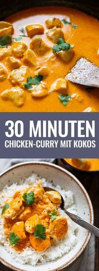OMG! Einfaches Chicken-Curry mit Kokosmilch ist das perfekte Feierabend-Rezept! Nur 8 Zutaten und in 30 Minuten auf dem Tisch! - Kochkarussell.com #curry #chicken #thaifood #rezept Chicken Curry, Healthy Snaks, Chicken Alfredo, Indian Food Recipes, Asian Recipes, Diy Food, Lunches And Dinners, Healthy Drinks, Soup Recipes