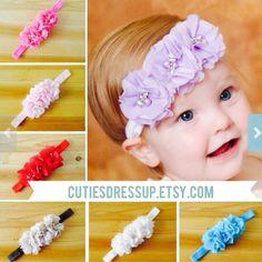 Headband ,Baby girl Headband,Newborn Headband,Christening Headband,Shabby Chic Headband, Baptism Headband, Baby Headbands.