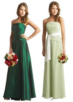 Strapless Luxe Taffeta deep green bridesmaid gown tiered bodice with reverse V waistline and A-line skirt.