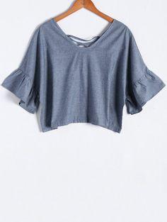 Blue Denim V Neck Half Sleeve Blouse - BLUE M Mobile