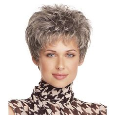 Shaggy Curly Silvery Gray High Temperature Fiber Neat Bang Stylish Short Capless Wig For Women