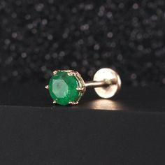 Helix Earrings, Emerald Earrings, Dainty Earrings, Cartilage Earrings, Tragus, Beautiful Earrings, Stud Earrings, Double Ear Piercings, Cool Piercings