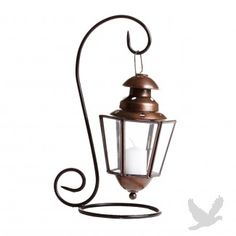 Glass Candle Lantern with Iron Stand