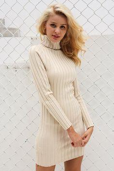 645ba37795 Casual turtleneck Raised Stripes knit winter sweater dress. Buy Simplee  Women s ...