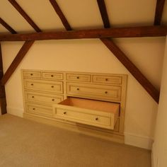 Attic Idea - built in dresser Yes!!! I want to do that in Emberly's room above the living room, the media room over out bathroom.  Great use of wasted space