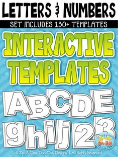 Letters & Numbers Flippable Interactive Templates Set  Includes 130+ Templates!You will receive over 130 graphic templates that were hand drawn by myself; 52 Uppercase Letters, 52 Lowercase Letters and 30 Numbers. Graphics come in B/W only and include a solid white center for easy layering.