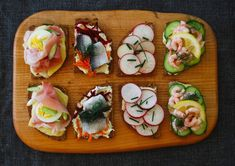 Open-faced sandwiches, from left: ham, cheese and egg; herring, beet and carrot; radish with butter and chives; shrimp and cucumber. Open Faced Sandwich, Sandwich Spread, Lunch Recipes, Cooking Recipes, Types Of Sandwiches, Raw Beets, Perfect Hard Boiled Eggs, Sliced Ham