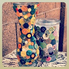 Creating a DIY button vase is a great way to recycle an old vase and turn your button collection into a work of art.  You can even make your own buttons using up scraps or strips of leftover scrapbook paper.