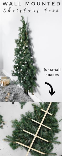 Here's a fun and easy Christmas tree you can make if you're in a small space. perfect for bedroom decor as well! :D #ChristmasTreeIdeas