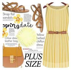 """Spring Date: Pretty Plus-Size Style"" by vanjazivadinovic ❤ liked on Polyvore featuring Betsey Johnson, Chloé, sammydress, polyvoreeditorial and springdate"
