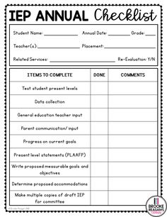 IEP Meeting checklist for IEP annual meetings. This editable checklist will help you keep up with meeting to-do's. Edit the checklist to fit your personal needs! Measurable Goals, Iep Meetings, Goal Tracking, Parent Communication, Goals And Objectives, Annual Meeting, Data Collection, Special Education, Classroom