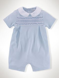 8e452934e8f8 Pima Cotton Smocked Shortall - Baby Boy One-Pieces - RalphLauren.com Baby  Dress