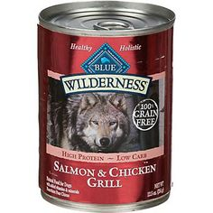 Blue Buffalo Wilderness Canned Dog Food in Salmon & Chicken Grill, sold in case of 12 for $31.08, regularly.