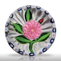 Antique Saint Louis paperweight with pink camomile or pompon red bud