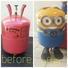 Diy minions from Helium balloon tank. Metal Yard Art, Scrap Metal Art, Metal Art Projects, Welding Projects, Minions, Helium Balloon Tank, Propane Tank Art, Junk Art, Welding Art