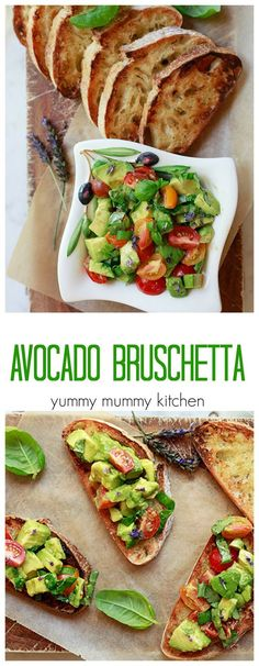 Delicious avocado toast bruschetta. This avocado recipe stays fresh and green for 24 hours! So perfect for summer get-togethers.