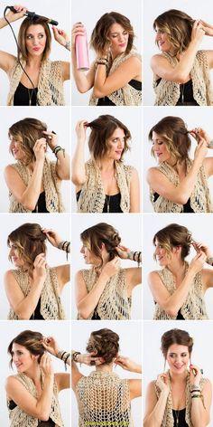 Luce fantástica con este peinado recogido para cabello corto. || peinados cabello corto fáciles recogidos - peinados recogidos pelo corto fiestas -  peinados cabello corto paso a paso DIY.