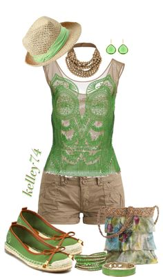 cute outfit in green + tan