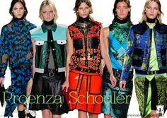 Proenza Schouler, chalecos jean de patchwork en piel de diferentes colores, estampados fotográficos y chaquetas armadas.