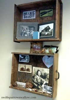 display your antique postcards, vintage photographs, & forgotten ephemera in old wooden drawers hanging on the wall
