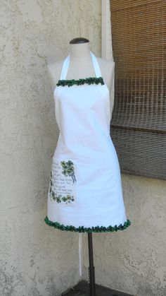 White Full Apron Cross Stitch Side Pocket with Old by MirtaBurns, $24.99
