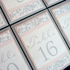 Wedding Table Numbers Light Pink and Grey Damask