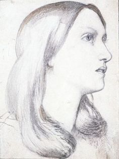 Dante Gabriel Rossetti. Pencil sketch of Edith . Siddal.