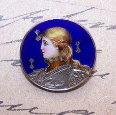 Outstanding FRENCH SILVER & Enamel Pin/Brooch of Saint Joan of Arc!