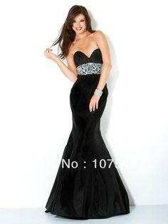 >> Click to Buy << Elegant Black Prom Dresses Satin Mermaid Sweetheart Appliques Beading Off the Shoulder Floor Length Free Shipping PJ374 #Affiliate