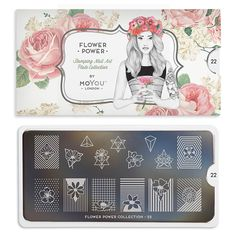 This collection features hippie-style flowers, modern motifs and blooms. We have floral nail art plates for any look. Nail Stamper, Nail Charms, Nail Art Stamping Plates, London Nails, Nail Art Images, Image Plate, Floral Nail Art, Nail Art Supplies, Flower Plates