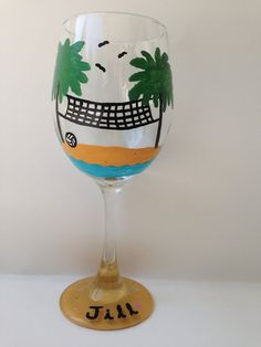 Beach Volleyball Themed Wine Glass by HCMGifts on Etsy, $15.00