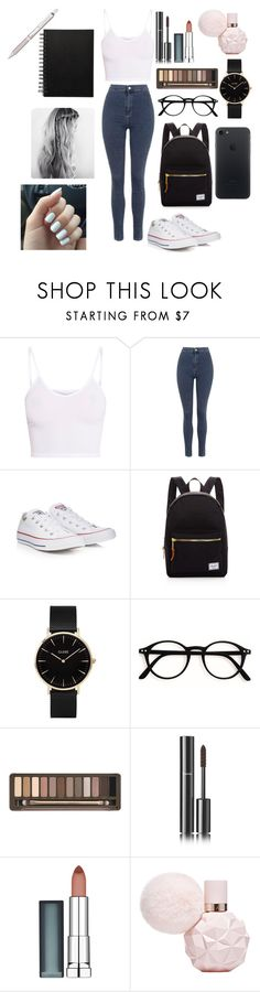 """""""SCHOOL"""" by reka15 on Polyvore featuring BasicGrey, Topshop, Converse, Herschel Supply Co., CLUSE, Urban Decay, Chanel, Maybelline and Pentel"""