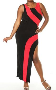 Pinkclubwear-Plus-Size-Black-Red-Colorblock-Side-Slit-Long-Maxi-Dress-Red-3X-0, Pinkclubwear's Scoop neck sleeveless colorblock side slit maxi