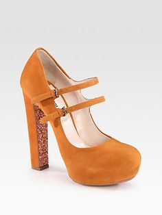 Suede & Glitter Sole Double Buckle Mary Jane Pumps $292.0 by Saks Fifth Avenue