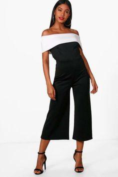 32ddb1d8415 Boohoo Contrast Bardot Culotte Jumpsuit Black Size UK 10 rrp 20 DH180 HH 15   fashion