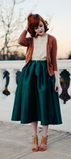 green midi skirt- love the greens mixed with the warmer autumnal colours, feminine lovliness + the shoes are great!