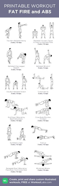 FAT FIRE and ABS:my visual workout created at WorkoutLabs.com • Click through to customize and download as a FREE PDF! #customworkout
