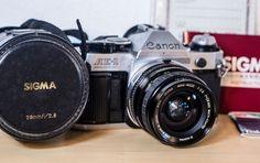 Canon AE-1 Program SLR & SIGMA FD 28mm f/2.8 MACRO Lens Hard Case Manual WORKS! #Canon