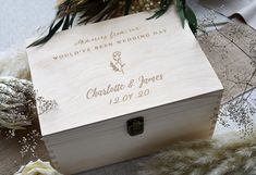 Laser printed, personalised, wooden memory box for your wedding. Corona Wedding, Covid Wedding memories. Keepsake box for the newlyweds. Personalised Wooden Box, Wooden Gifts, Personalized Wedding Gifts, Large Wooden Box, Wooden Memory Box, Biodegradable Confetti, Biodegradable Products, Wedding Anniversary Gifts, Wedding Day