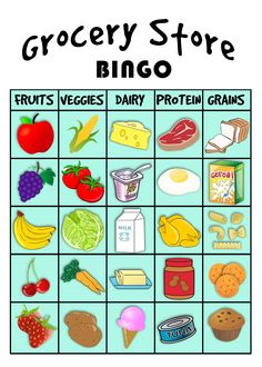 kids nutrition use this free printable of grocery store BINGO to occupy the kids' time, while helping them learn the food groups. this grocery store BINGO is so fun