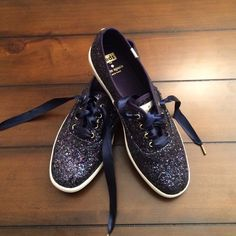 Navy glitter Keds for Kate Spade HOST PICK! Never worn. So cute! Bought the wrong size :( Size 8 but fits more like 8.5 kate spade Shoes Sneakers